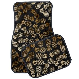 motif tropical d'ananas de feuille d'or élégante tapis de voiture