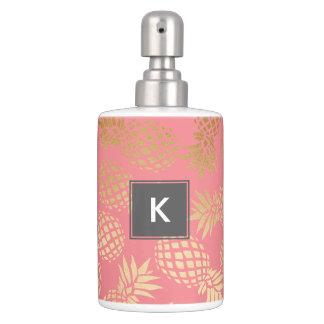 motif tropical d'ananas d'or élégant de faux set de salle de bain