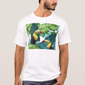 Motif tropical de feuille de banane de toucans t-shirt