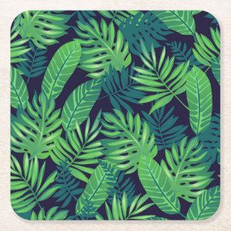 Motif tropical de feuille dessous-de-verre carré en papier