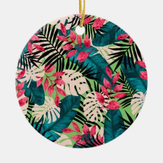 Motif tropical de feuille ornement rond en céramique