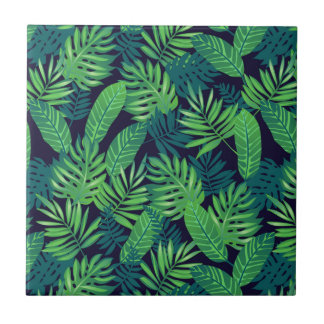 Motif tropical de feuille petit carreau carré