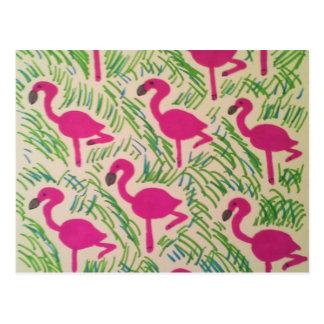 Motif tropical de flamants roses carte postale