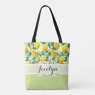 Motif tropical de fruit de citrons d'été de hanche tote bag