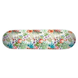 Motif tropical de jardin de nature de flamant skateboards personnalisables