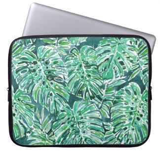 Motif tropical de Monstera de vert de VIBRAPHONE Trousse Pour Ordinateur Portable