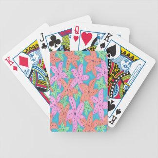 Motif tropical d'étoiles de mer jeu de cartes