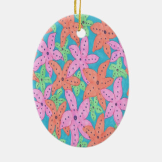 Motif tropical d'étoiles de mer ornement ovale en céramique