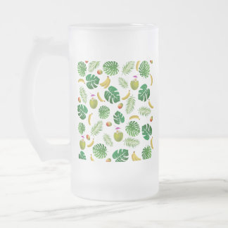 Motif tropical frosted glass beer mug