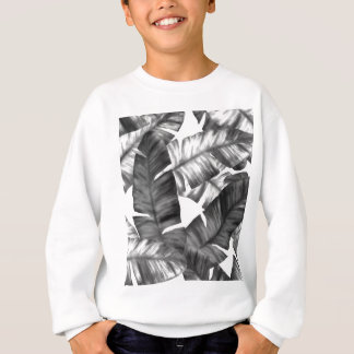 Motif tropical noir et blanc de feuille de banane sweatshirt