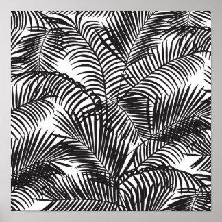 Motif tropical noir moderne de palmiers affiches