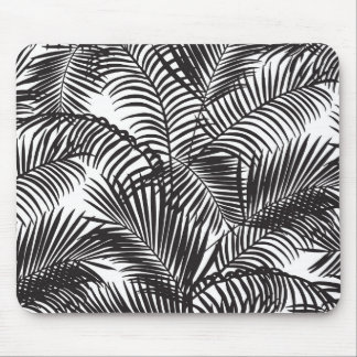 Motif tropical noir moderne de palmiers tapis de souris