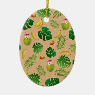 Motif tropical ornement ovale en céramique