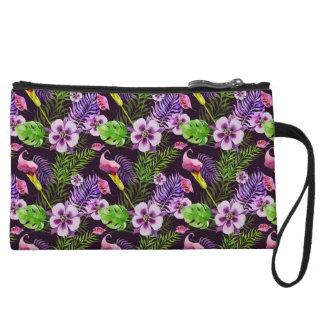 Motif tropical pourpre noir d'aquarelle de flore mini-pochette