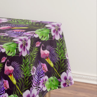 Motif tropical pourpre noir d'aquarelle de flore nappe