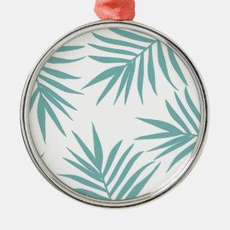 Motif tropical vert sensible de feuille ornement rond argenté