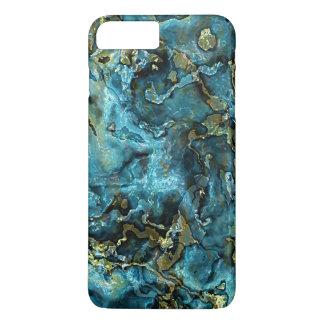 Motif turquoise d'agate de minerais d'or de Faux Coque iPhone 7 Plus