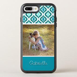 Motif turquoise de baisses d'Ikat de rétro Aqua Coque Otterbox Symmetry Pour iPhone 7 Plus