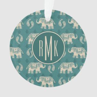 Motif turquoise de caravane d'éléphant