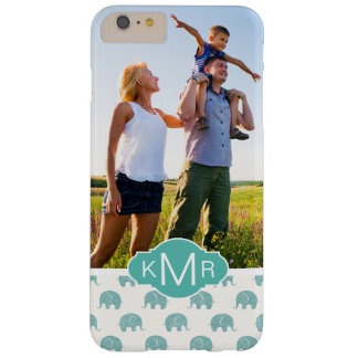 Motif turquoise mignon d'éléphant du monogramme | coque iPhone 6 plus barely there
