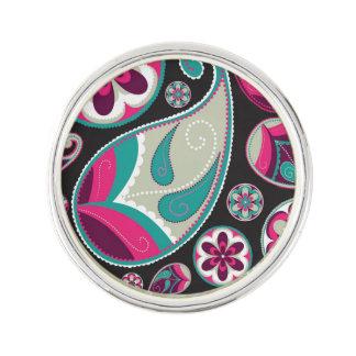 Motif turquoise rose de Paisley Épinglette