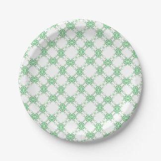 Motif vert clair de kaléidoscope assiettes en papier