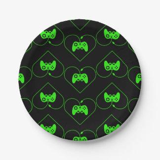 Motif vert de coeur de contrôleur de jeu vidéo assiettes en papier