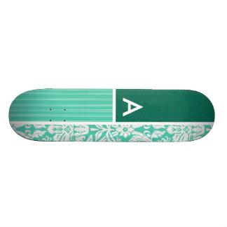 Motif vert de damassé de Seafoam Plateau De Planche À Roulettes