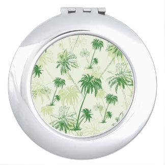 Motif vert de palmier miroirs de maquillage