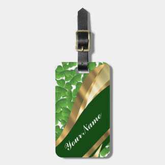 Motif vert de shamrock étiquette pour bagages