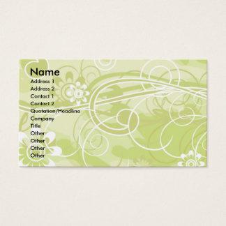 Motif vert mou floral et de remous cartes de visite