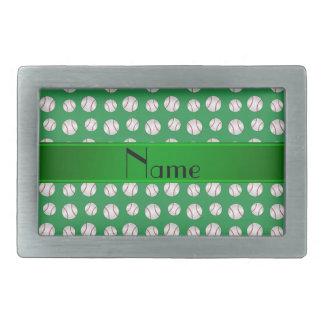 Motif vert nommé personnalisé de base-ball boucle de ceinture rectangulaire