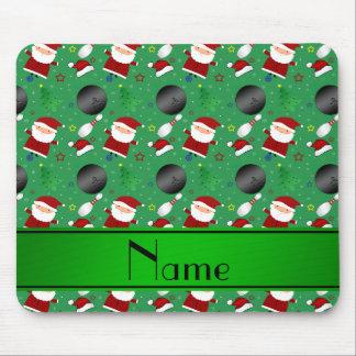 Motif vert nommé personnalisé de Noël de bowling Tapis De Souris