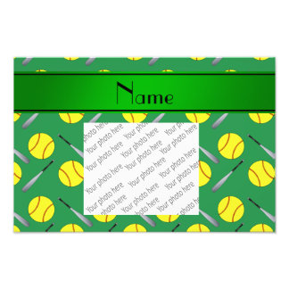 Motif vert nommé personnalisé du base-ball photographies d'art