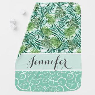 Motif vert tropical de feuilles de palmier de couverture pour bébé