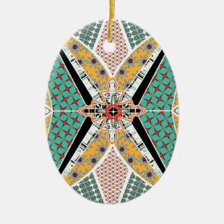 Motif vibrant de centre moderne de l'Afrique Ornement Ovale En Céramique