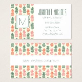 Motif vintage 2 d'ananas cartes de visite