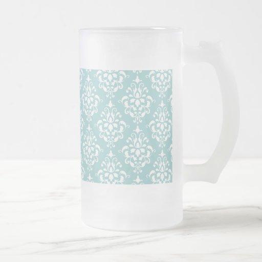 Motif vintage blanc bleu-clair 1 de damassé tasse