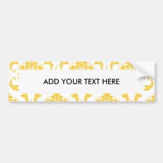 Motif vintage blanc jaune Girly de damassé Autocollant De Voiture