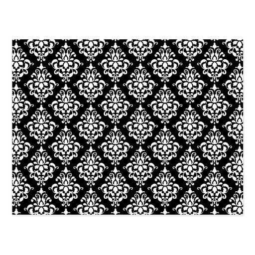 motif vintage blanc noir 1 de damass carte postale zazzle. Black Bedroom Furniture Sets. Home Design Ideas