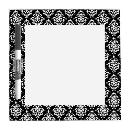 Motif vintage blanc noir 1 de damassé tableaux effaçables blancs