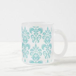 Motif vintage blanc turquoise mignon 2 de damassé mug