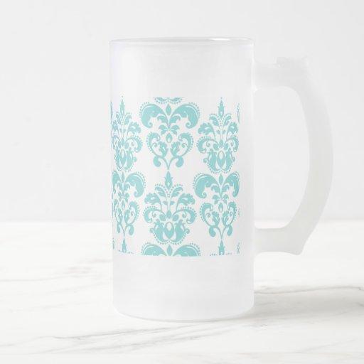 Motif vintage blanc turquoise mignon 2 de damassé tasse