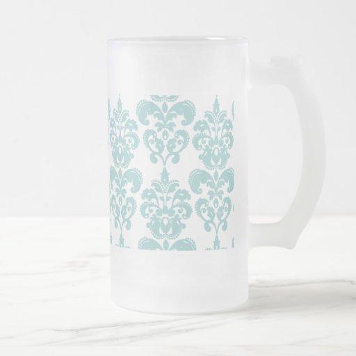 Motif vintage bleu et blanc 2 de damassé tasse