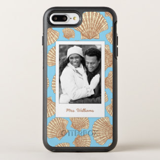 Motif vintage | de coquillage votre photo et nom coque otterbox symmetry pour iPhone 7 plus