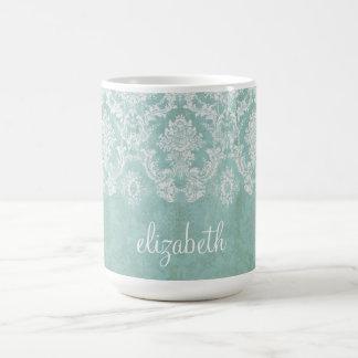 Motif vintage de damassé de bleu glacier avec la mug
