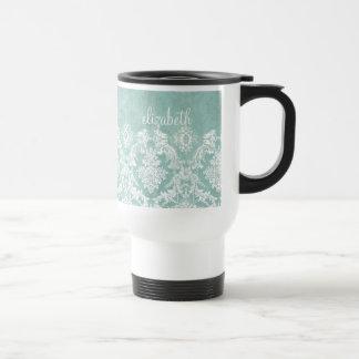 Motif vintage de damassé de bleu glacier avec la mug de voyage