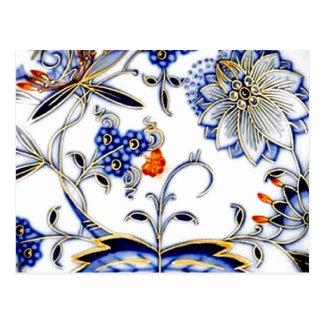 Motif vintage de la Chine d'oignon bleu Cartes Postales