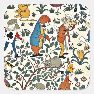Motif vintage de tissu d'Alice et d'amis Sticker Carré