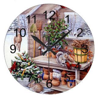 Motif vintage de vacances de Père Noël de Noël Grande Horloge Ronde